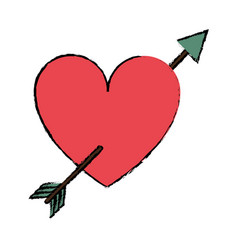 drawing red heart with arrow love valentine vector image vector image
