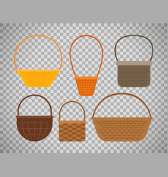Empty baskets on transparent background vector