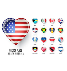 Flags icon of the countries north america vector