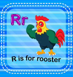 Flashcard letter r is for rooster vector