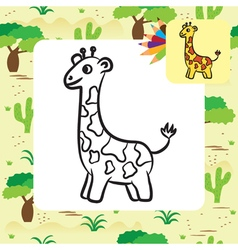 giraffe coloring page vector image
