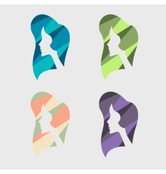 Girl segmented colored silhouette vector