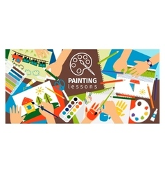 Handmade creative kids banner vector image