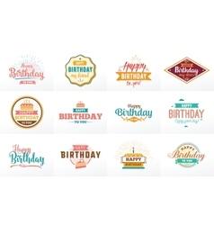Happy birthday typographic set design vector