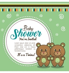 Invitation baby shower twins boy bear vector