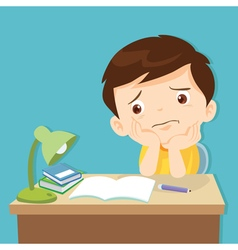 little cute boy bored homework vector image vector image
