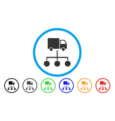 Lorry distribution scheme rounded icon vector
