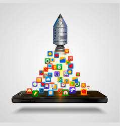 mobile icons app rocket on the white background vector image vector image