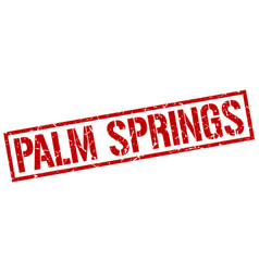 Palm springs red square stamp vector