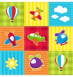 patchwork with air transport vector image vector image