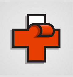 Pharmacy abstract red cross clean vector