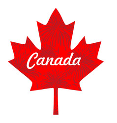 Red fireworks on canada maple leaf vector