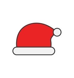 Santa Claus hat flat line icon vector image