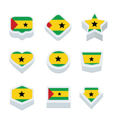 Sao tome and principe flags icons and button set vector