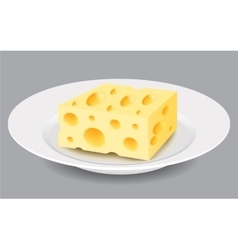 Slice of Cheese on a Plate vector image vector image
