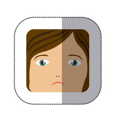 sticker cartoon human female sad face vector image vector image