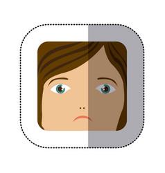 sticker cartoon human female sad face vector image