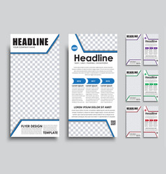 Template flyer size of 210x99 mm vector