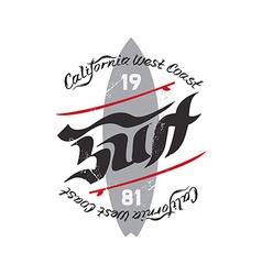 Vintage Surfing Emblem with original lettering vector image