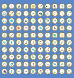 100 science icons set cartoon vector