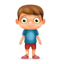 Boy realistic 3d child cartoon character icon vector