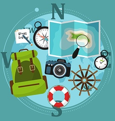 Set of travel accessories with backpack compass vector