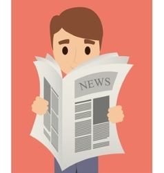 Man reading newspaper design vector