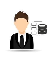 character man with data center design vector image