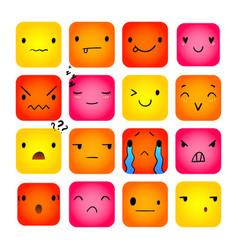 Emoticon square doodle 7 vector