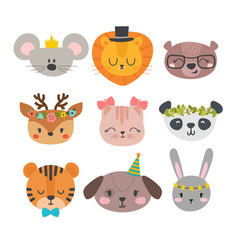 Cute animals with funny accessories cartoon zoo vector