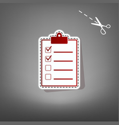 checklist sign   red icon with vector image