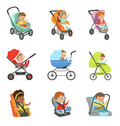 baby carriage set children transport colorful vector image