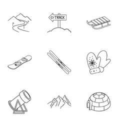 Ski resort set icons in outline style big vector