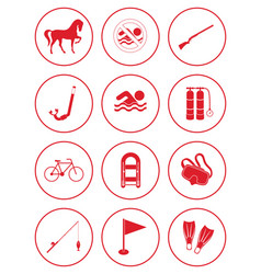 Set of sports equipment icons vector