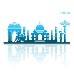 traditional sights and symbols of india vector image
