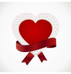 Heart card and ribbon vector