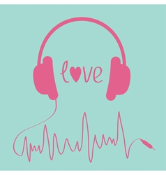 Pink headphones with cord in shape of cardiogram vector