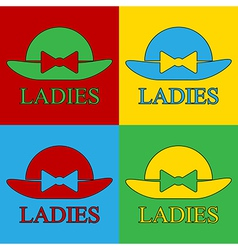 Pop art female hat icons vector