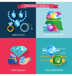 Precious jewels flat vector