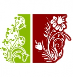 two floral design elements vector image