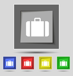 Suitcase icon sign on original five colored vector