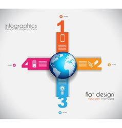 Infographic templated with paper number shapes vector
