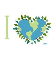 I love earth planet sweetheart with trees vector