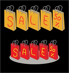 Shopping bags for sale 50 percent discount vector