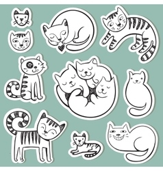 Cute doodle cats with different emotions vector