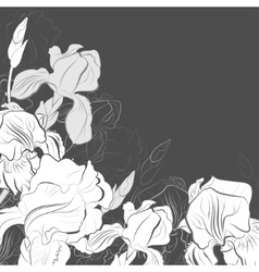 A bouquet of irises in the graphic vector