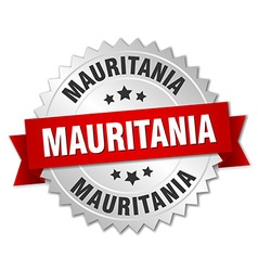 Mauritania round silver badge with red ribbon vector