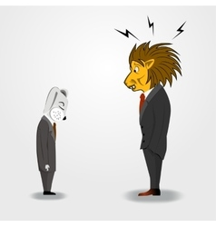 big boss is scolding to a businessman vector image vector image
