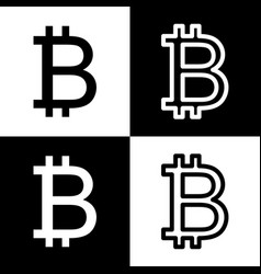 Bitcoin sign black and white icons and vector