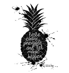 Black and white of black pineapple fruit vector image vector image